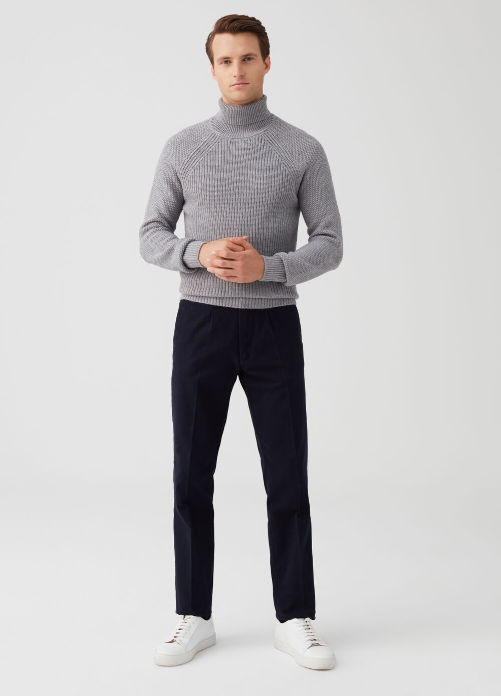 Turtleneck jumper with striped weave and high neck
