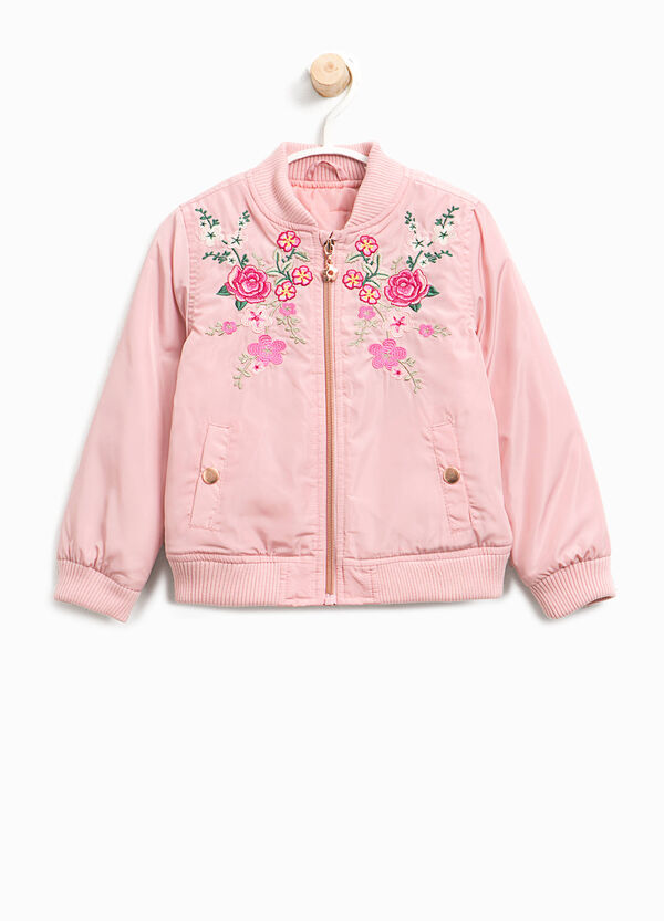 Bomber jacket with patch and floral embroidery