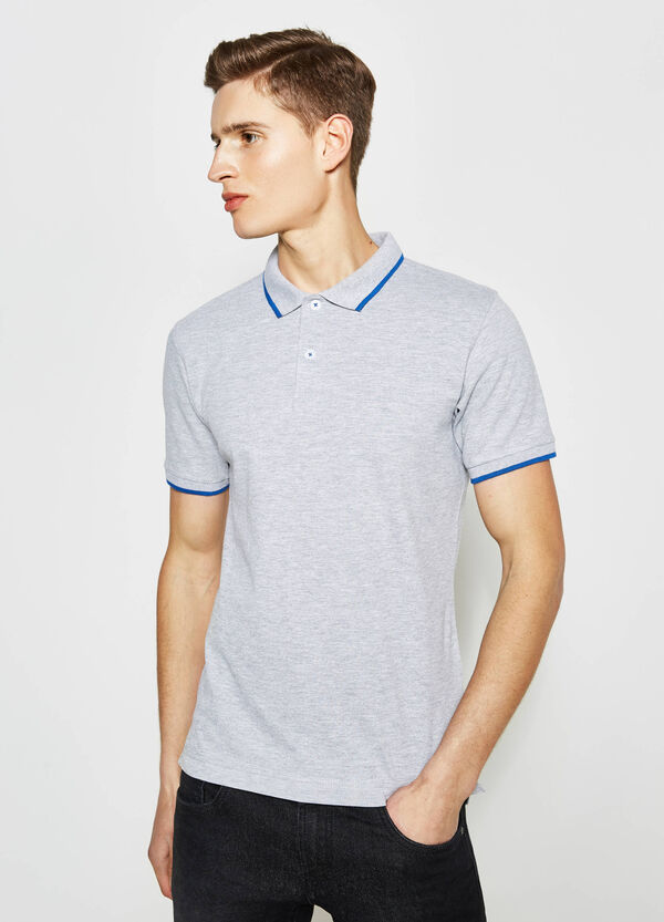 Polo shirt in stretch cotton with contrasting inserts | OVS