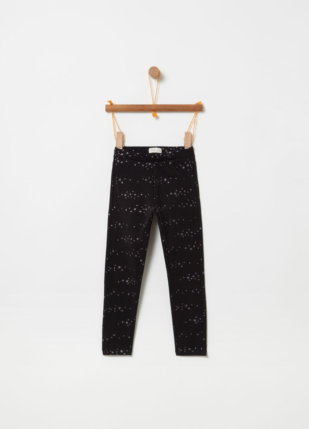 Stretch treggings with stars print
