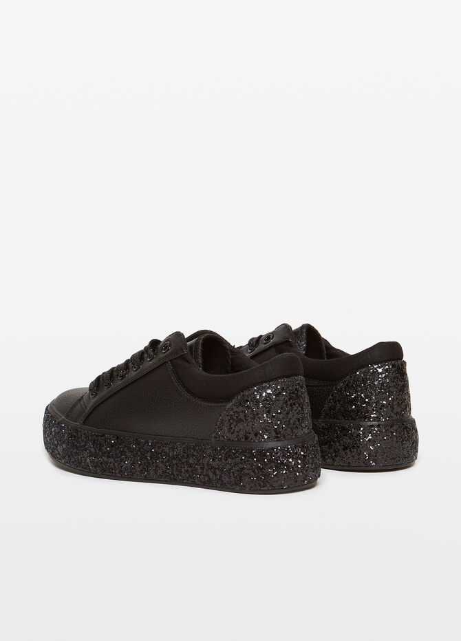 Textured-effect sneakers with glitter