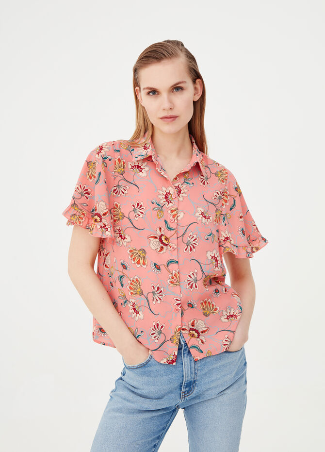 Short-sleeved crêpe blouse with frills