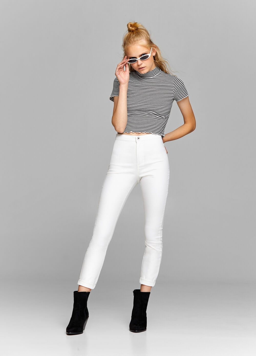 Cropped stretch T-shirt with high neck
