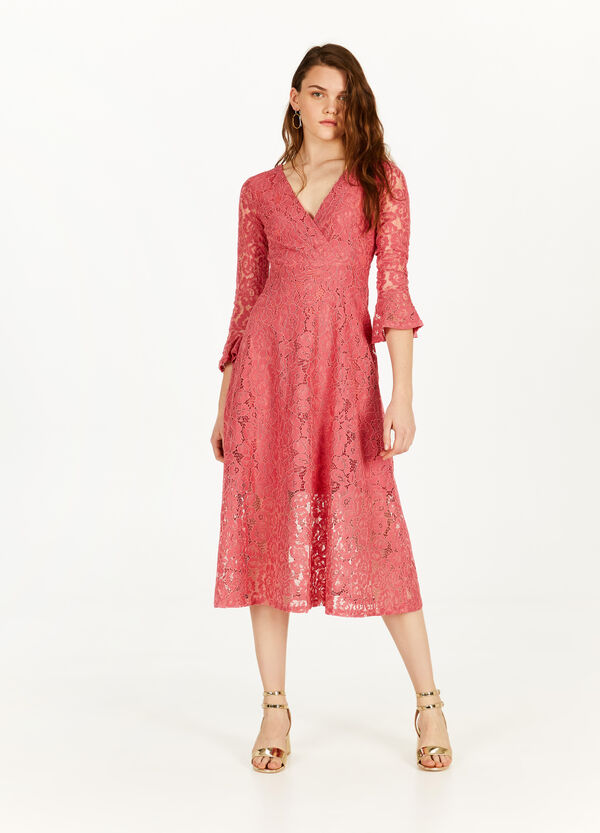 Longuette dress in cotton blend lace