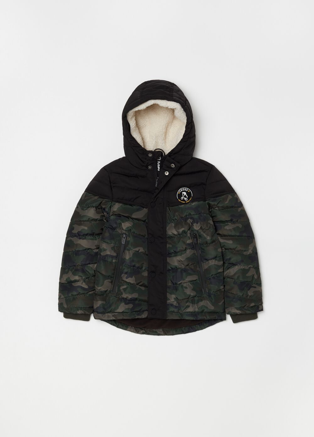 Quilted jacket with camouflage print