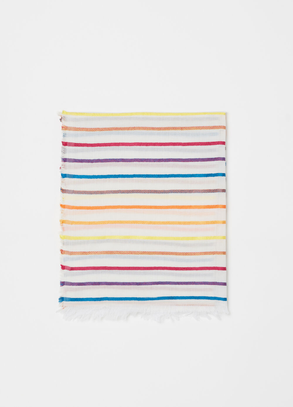 Striped pattern pashmina with fringed trim