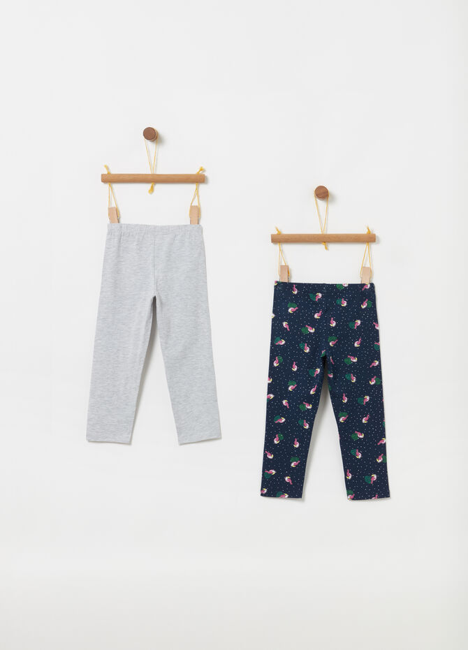 Two-pack three-quarter-length mélange leggings with pattern