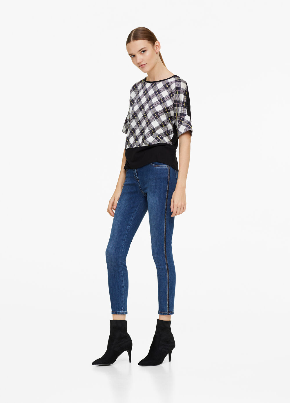 Stretch viscose T-shirt with check pattern
