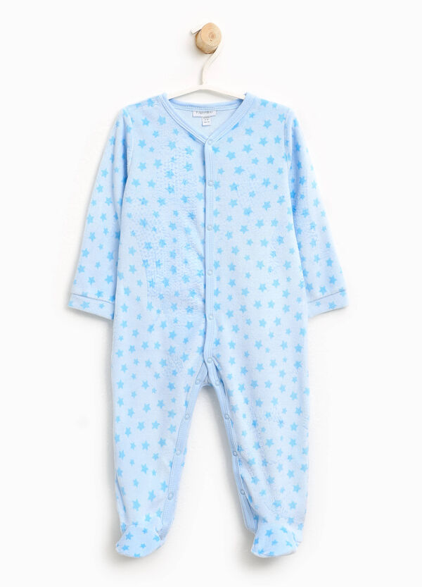 Velour sleepsuit with stars