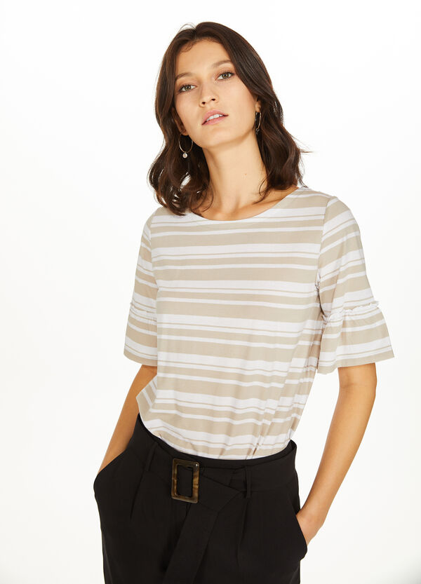 Striped cotton and modal T-shirt
