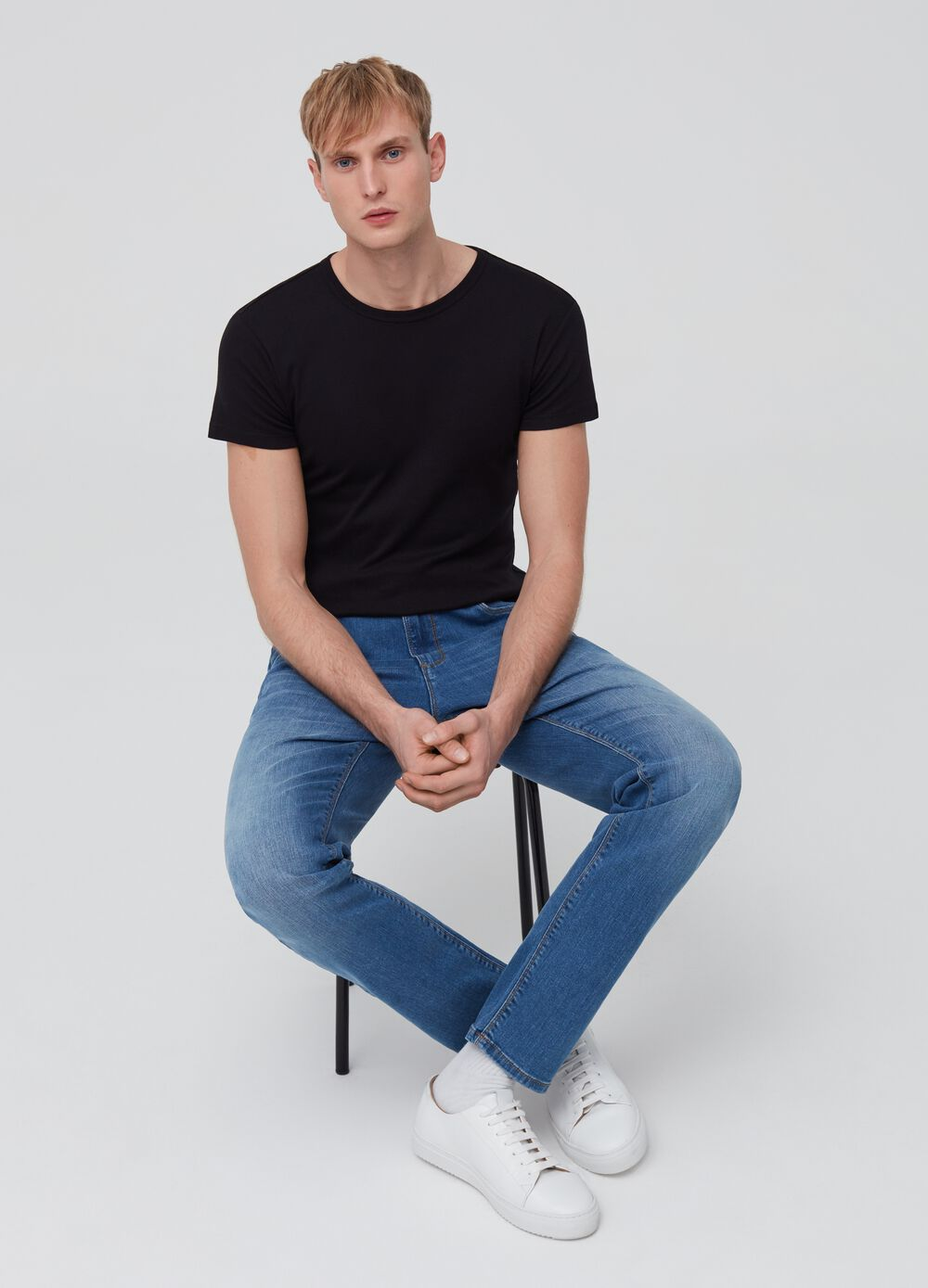 Washed slim-fit jeans