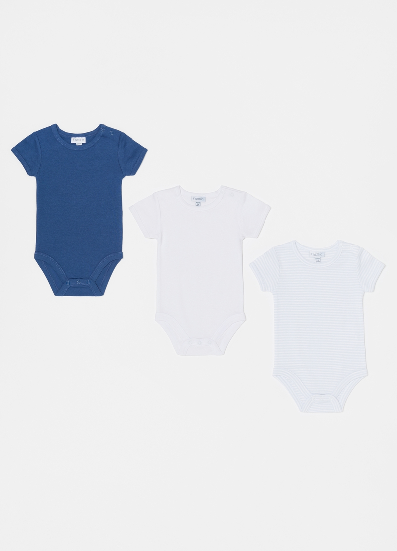 Three-pack bodysuit with round neck in 100% cotton image number null