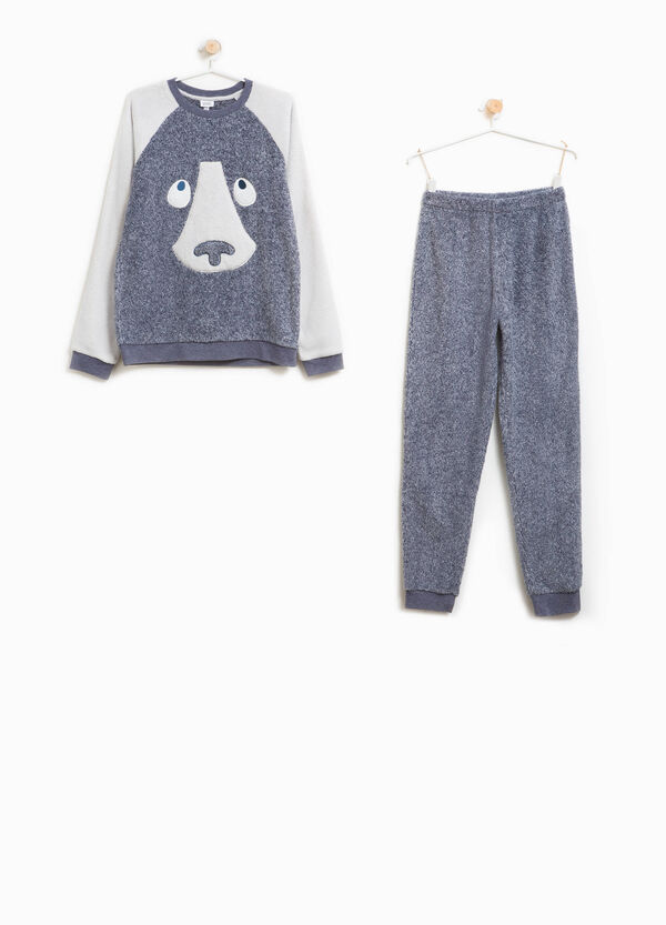 Pyjamas with embroidery and animal patch