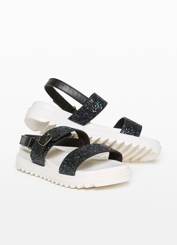 Sandals with glitter straps