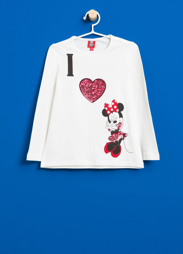 Stretch cotton T-shirt with Minnie Mouse and sequins