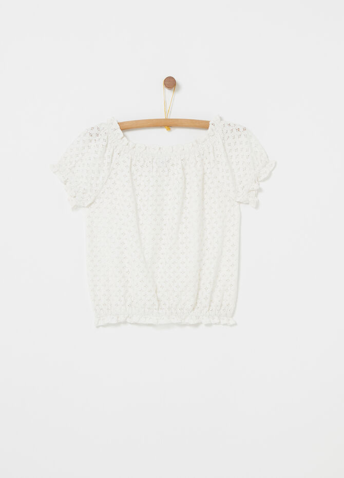 Lace-effect shirt with pleated edging