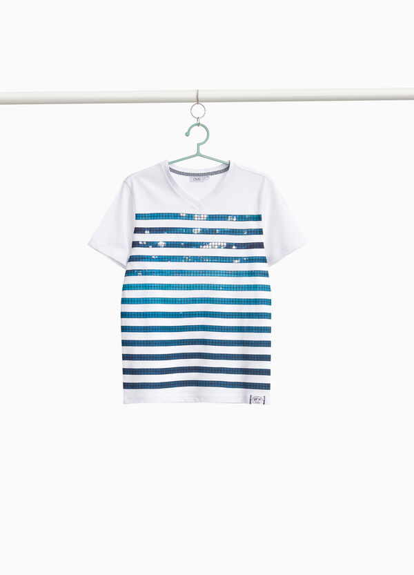 100% cotton T-shirt with striped print