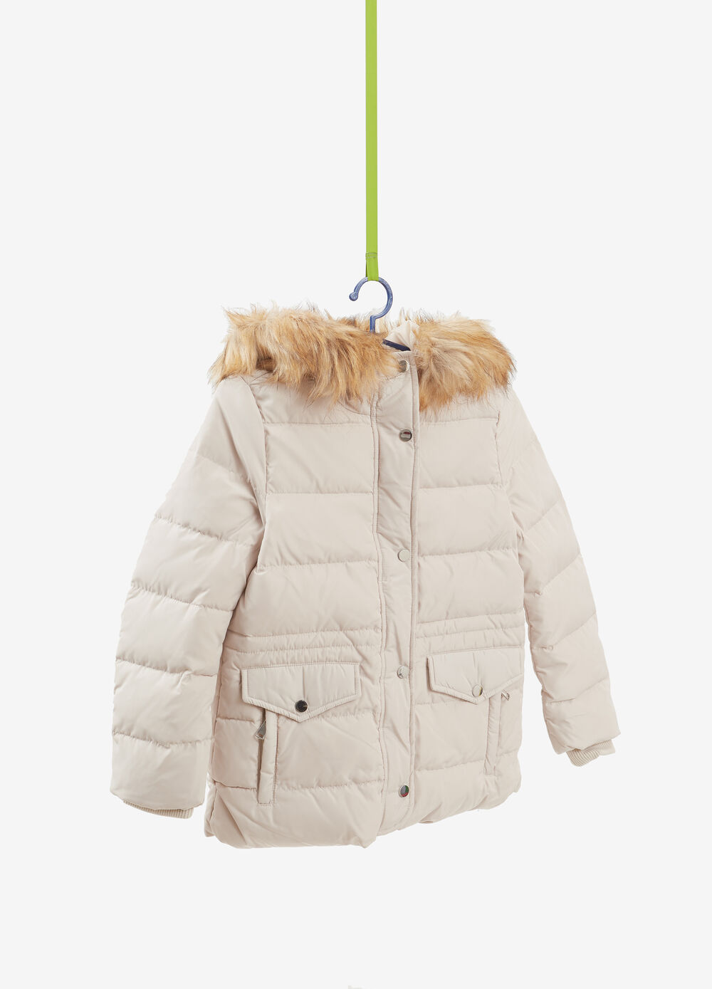 Jacket with faux fur effect hood