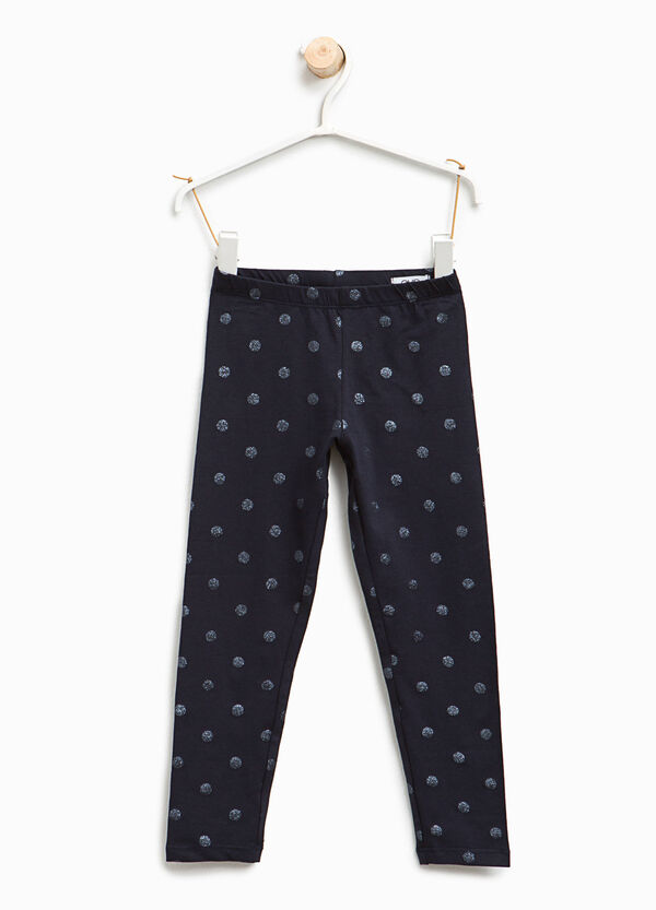 Leggings with glitter polka dot print | OVS