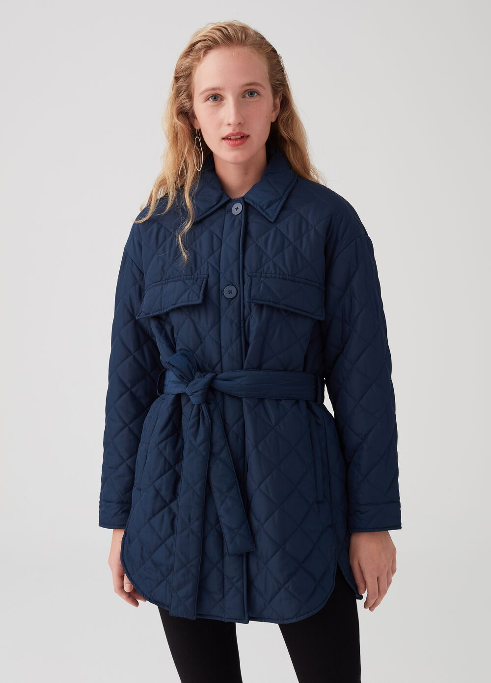 Quilted shirt jacket with belt