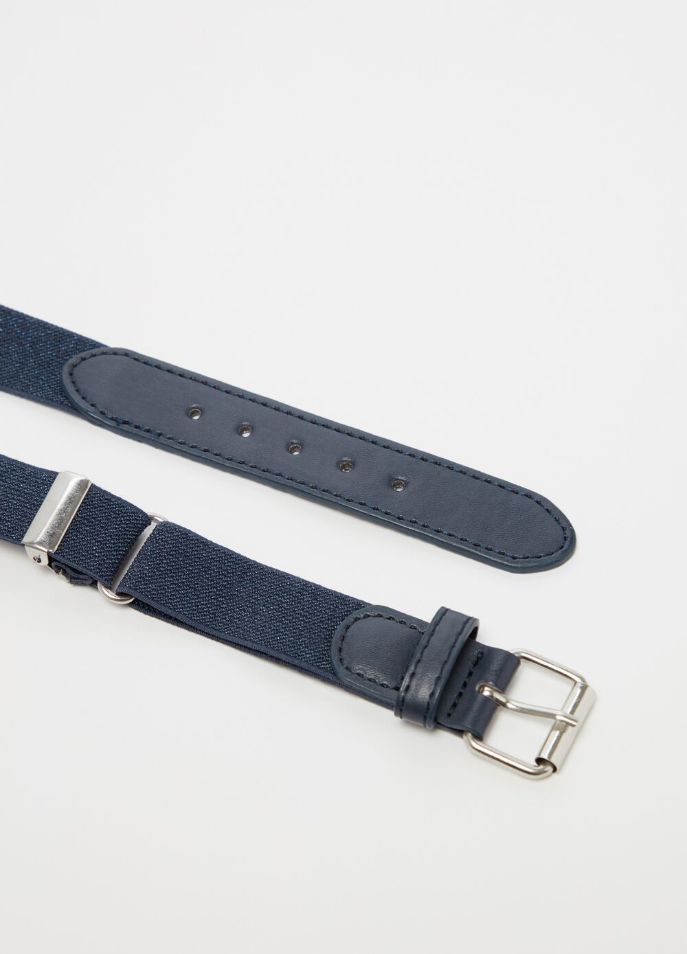 Belt with lurex and rubber inserts
