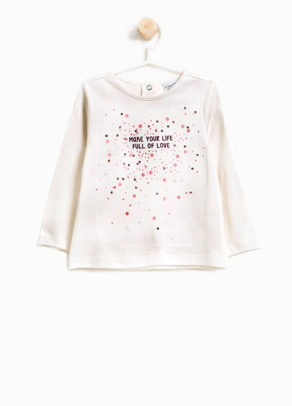 Cotton T-shirt with glitter print and sequins | OVS