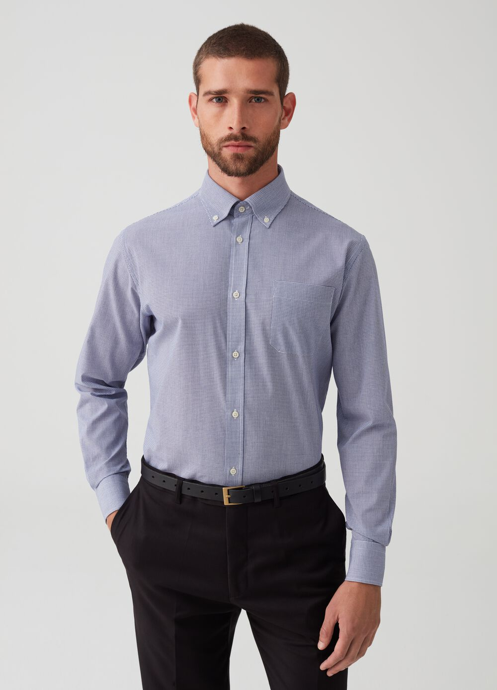 Regular fit shirt with micro check pattern