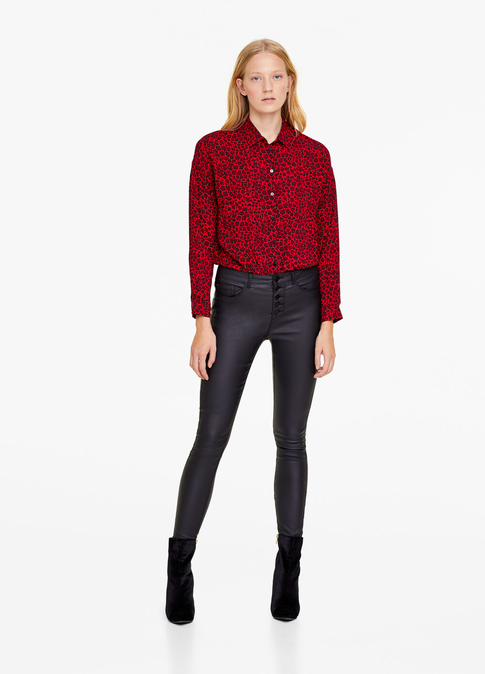 Leather-look skinny-fit stretch jeans