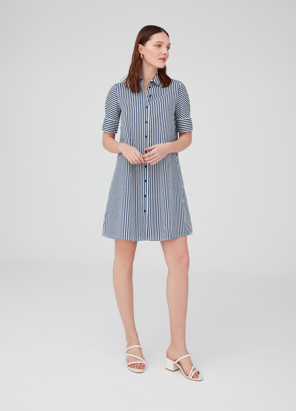 Dress with collar, short sleeves and stripes