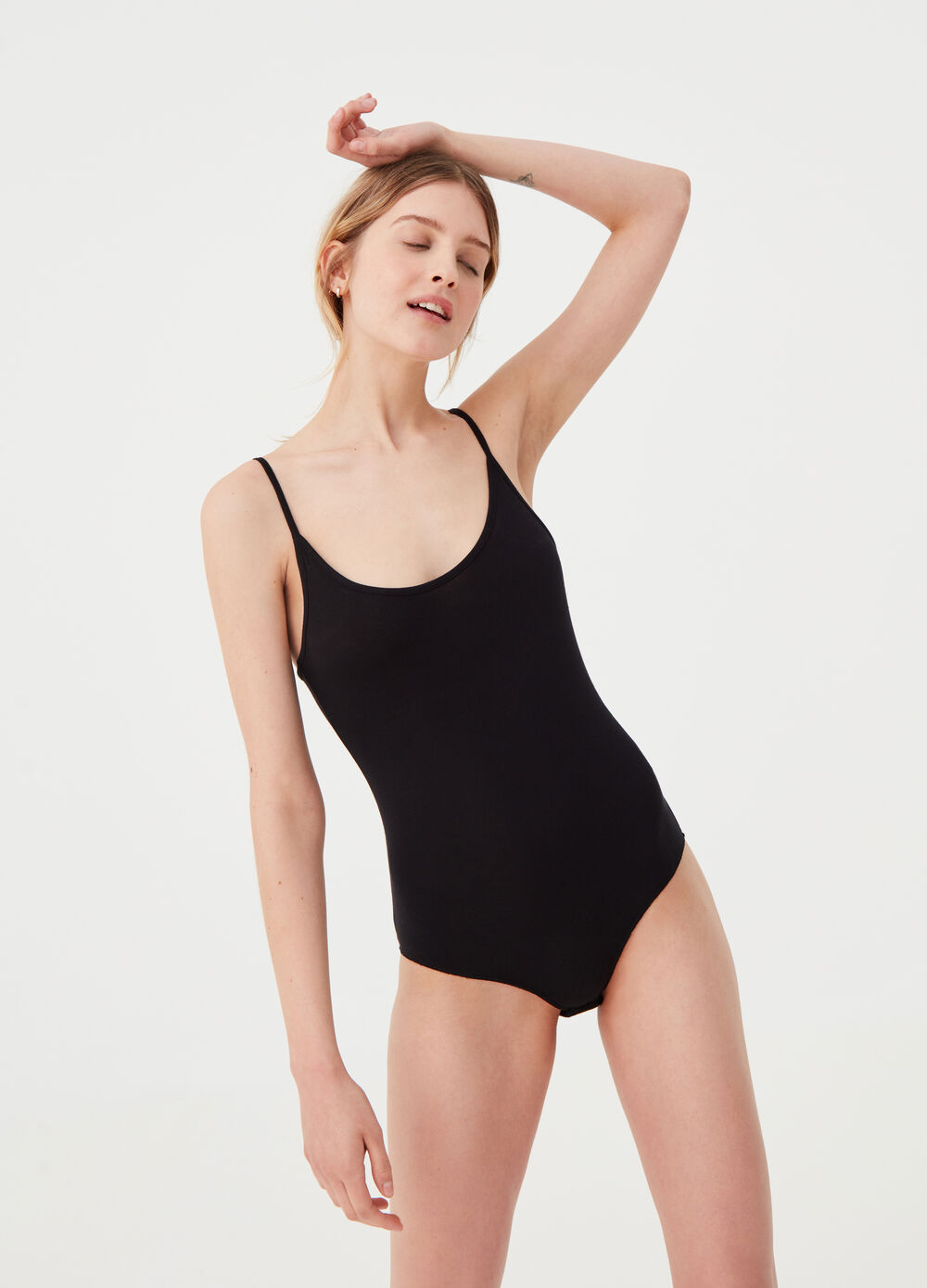 Solid colour stretch viscose bodysuit