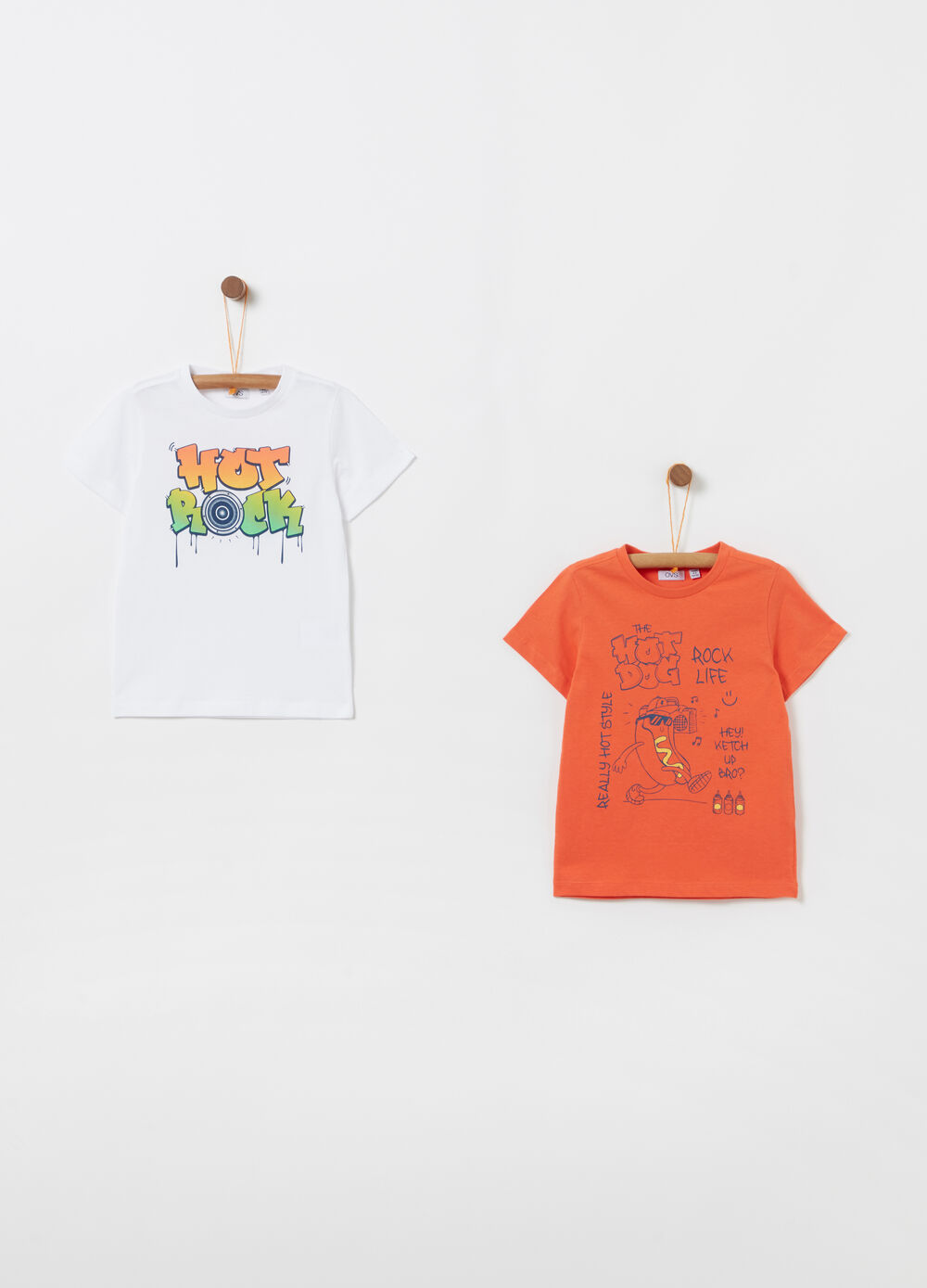 Two-pack T-shirts in 100% cotton with print