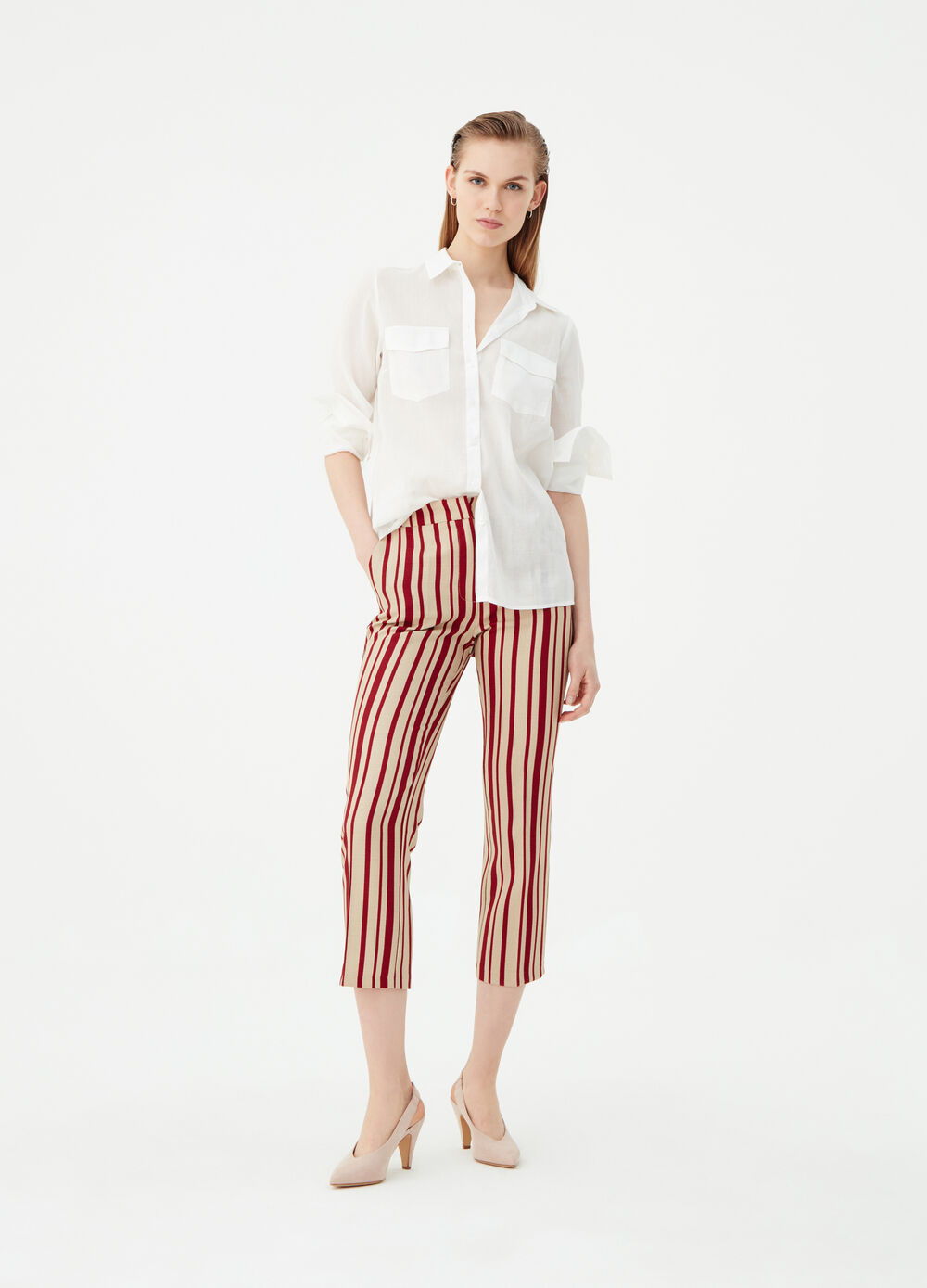 Striped pattern crop trousers