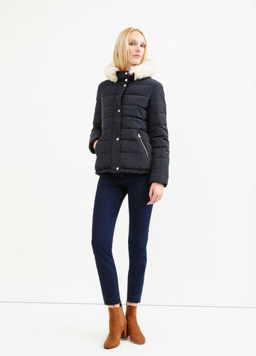 Down jacket with fur and drawstring