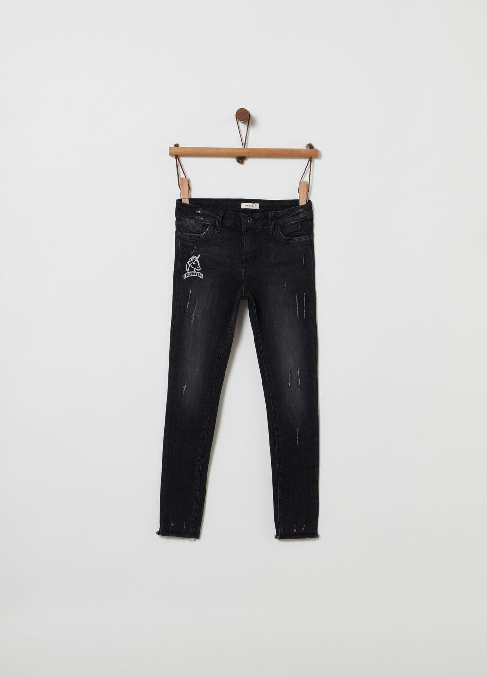 Vintage-effect skinny-fit ankle jeans
