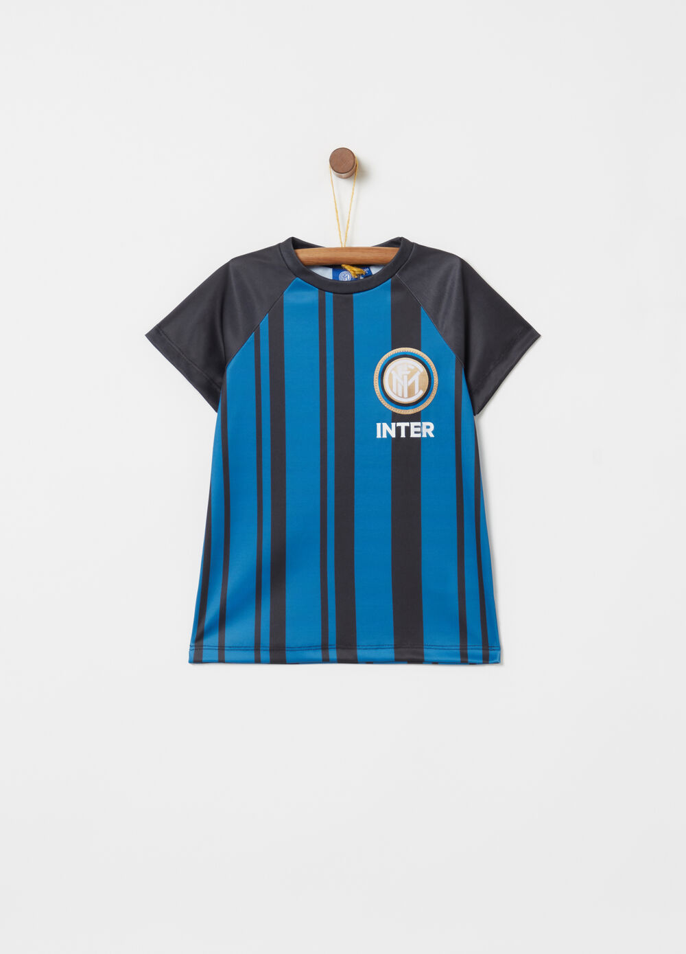 T-shirt with Inter print, stripes and raglan sleeves