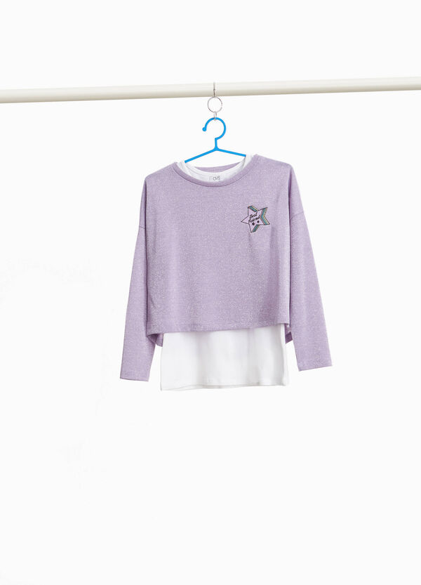Glitter T-shirt with faux layering