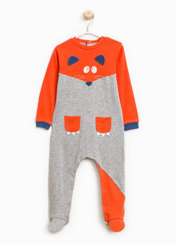 Organic cotton sleepsuit with fox patch | OVS