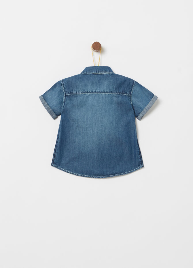Short-sleeved denim shirt with pockets