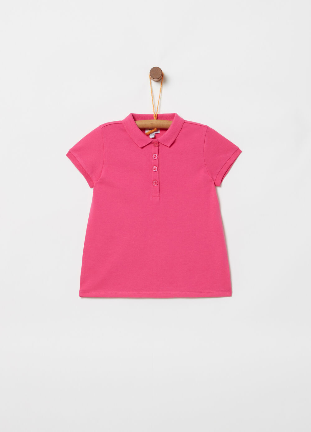 Stretch piquet polo shirt with bluff collar