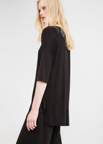 Stretch viscose ribbed T-shirt