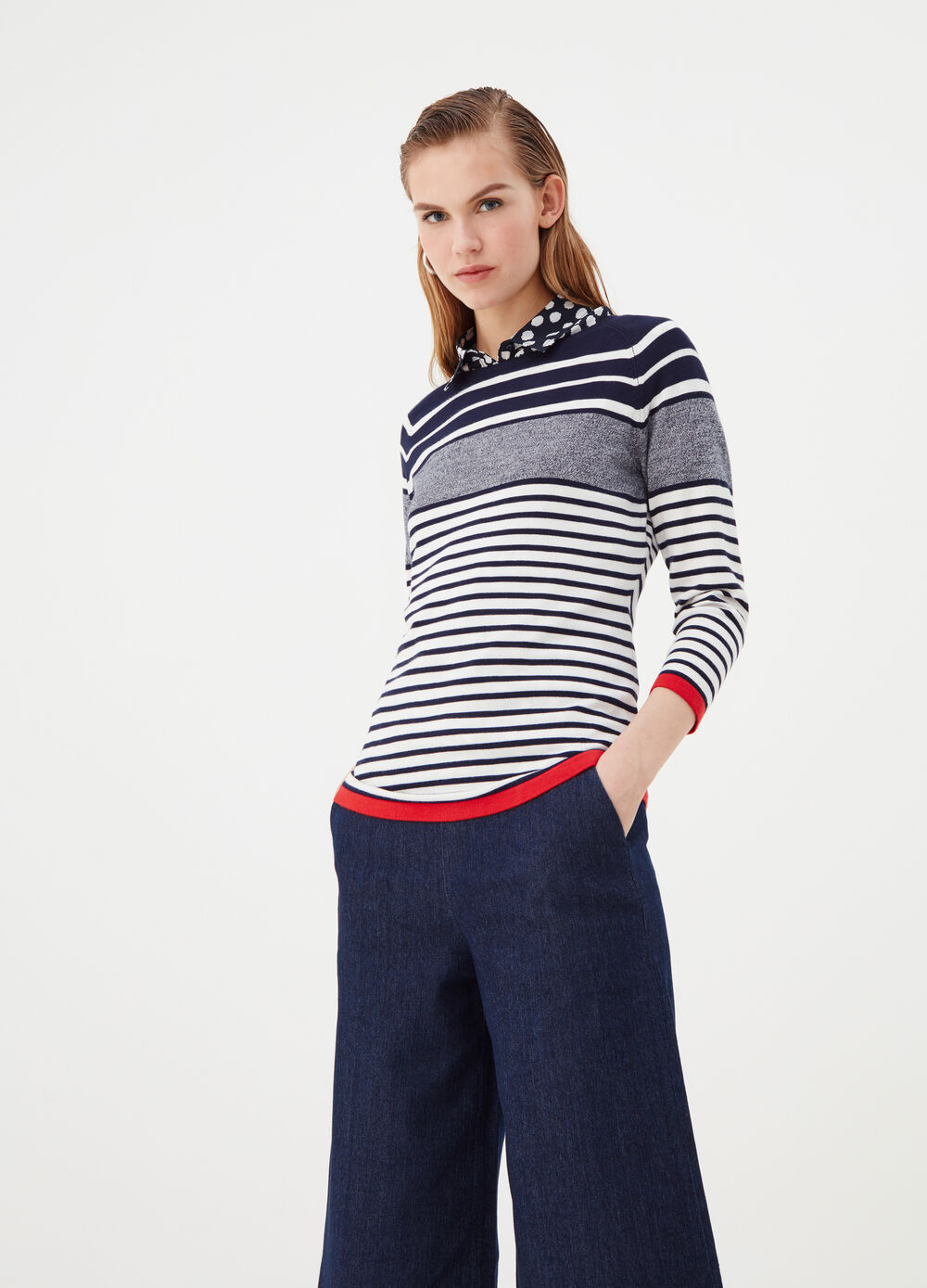 Colour block striped top in viscose blend