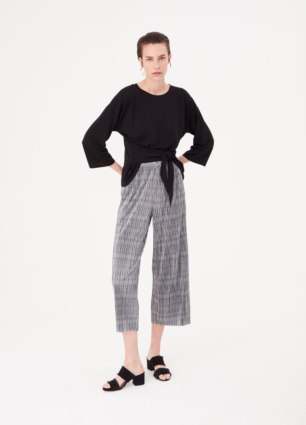 Culotte trousers with contrasting pattern