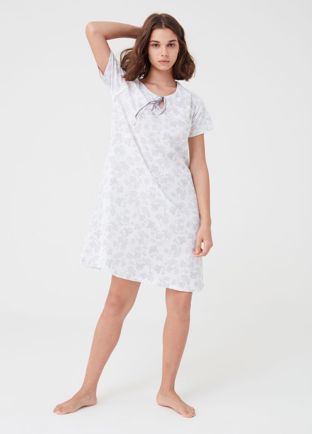 Biocotton nightshirt with floral lace