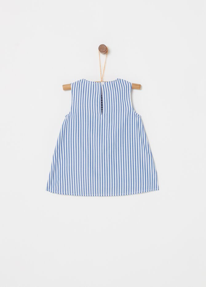Stretch cotton blouse with striped pattern