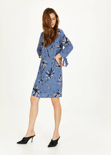 Crêpe dress with all-over print