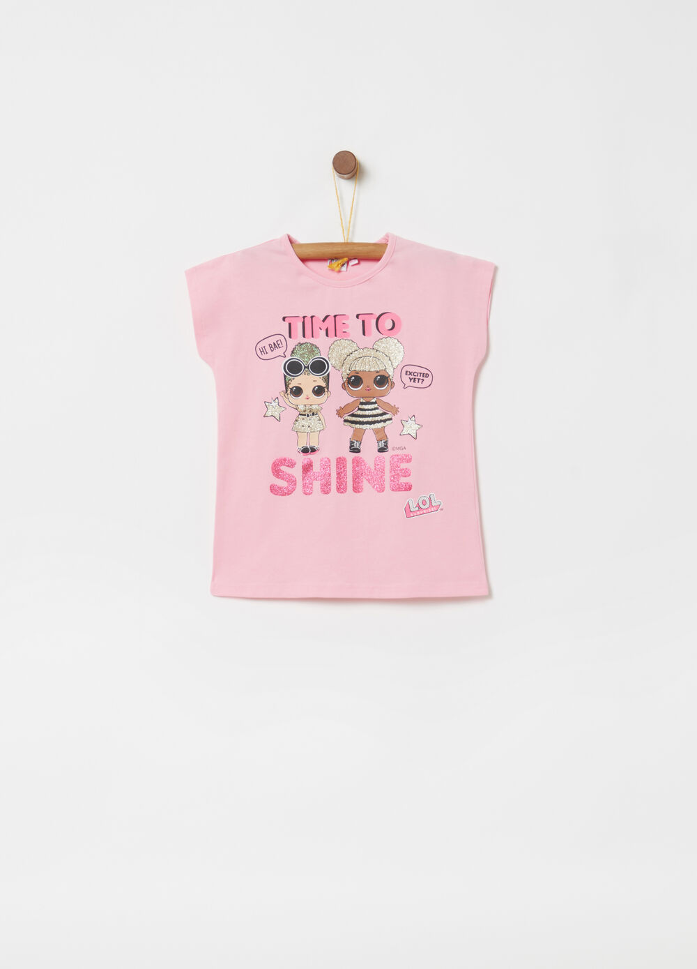 Jersey T-shirt with LOL glitter print