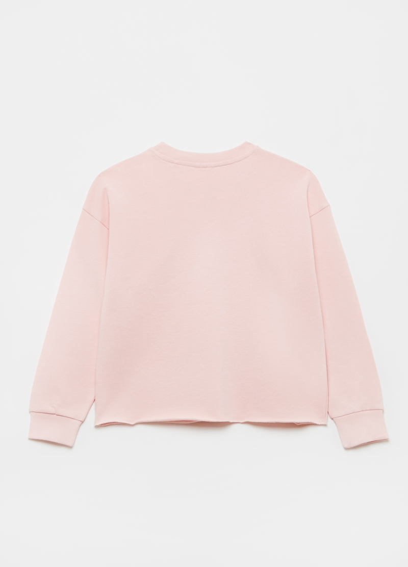 Cotton sweatshirt with raw edges and print image number null