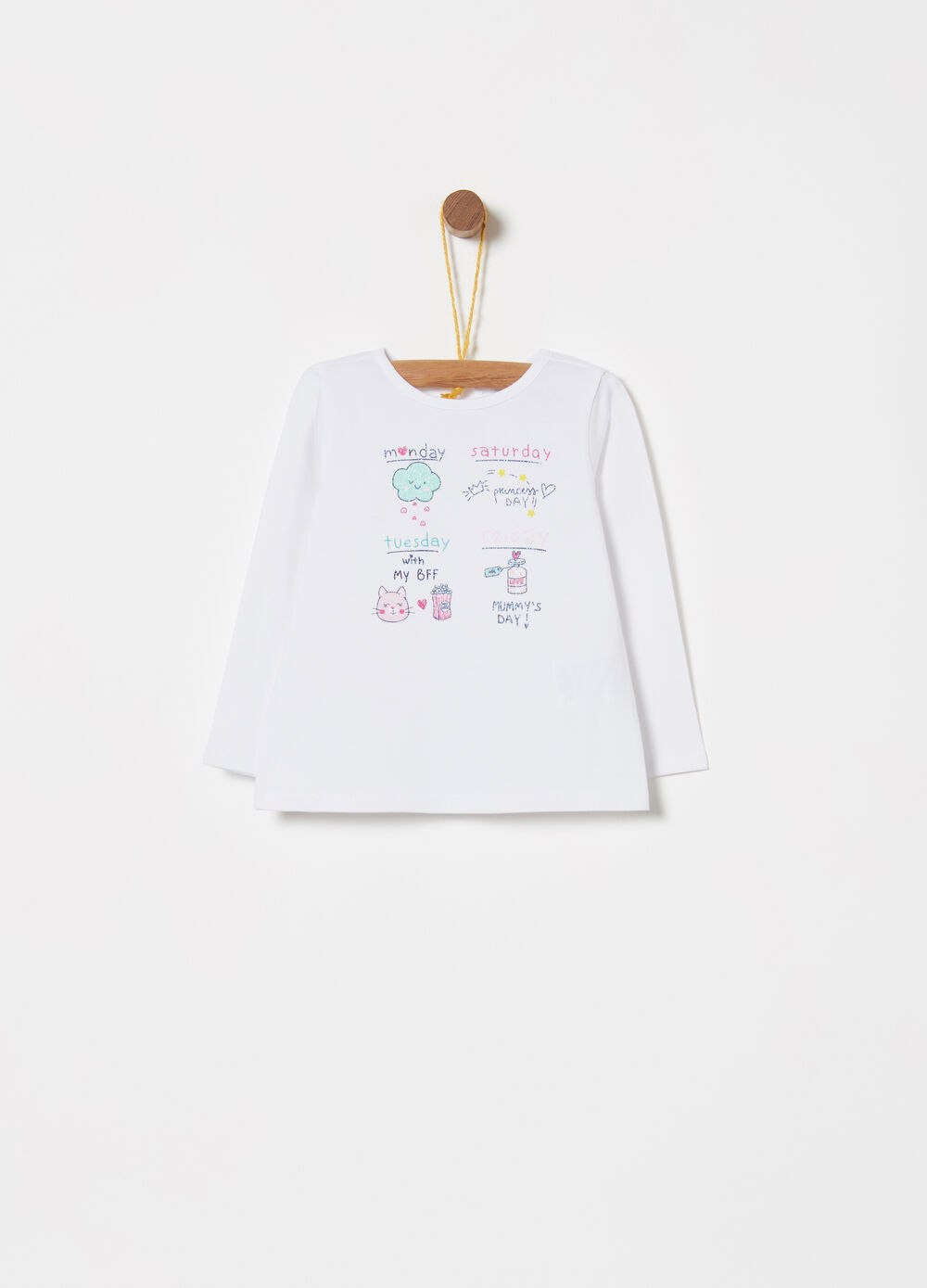 T-shirt in jersey stretch con stampa e glitter