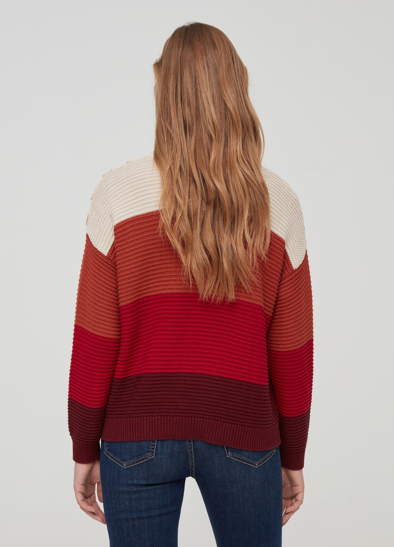 Pullover with striped weave and buttons image number null