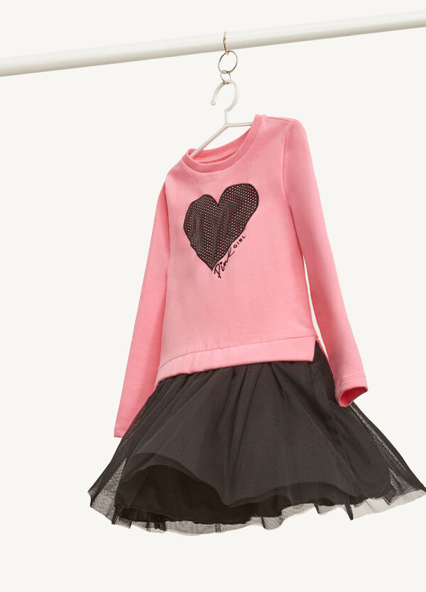Dress in stretch cotton with heart insert
